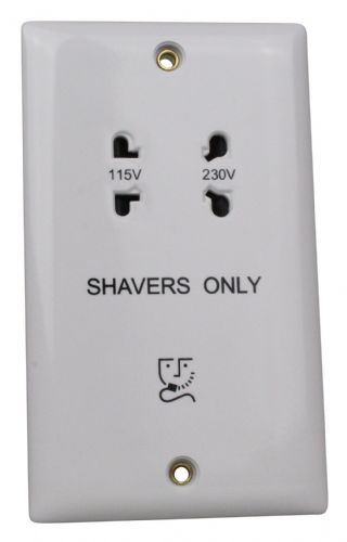 Varilight XOSSW Value Polar White Dual Voltage Shaver Socket 240V/115V